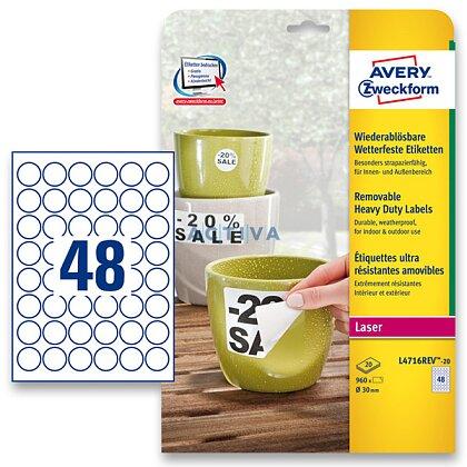Obrázek produktu Avery Zweckform - nepermanentní PET etikety - kulaté 30 mm, 960 etiket