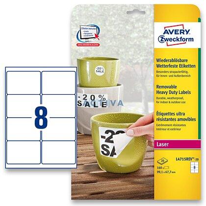 Obrázek produktu Avery Zweckform - nepermanentní PET etikety - 99,1 × 67,7 mm, 160 etiket