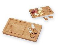 Bambusové prkénko na sýr s vidličkou a nožem