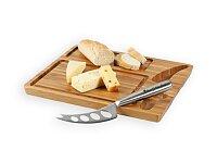Sada prkénka z bambusového dřeva a nože na sýry