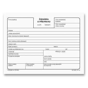 Obrázek produktu Žádanka o přepravu Optys 1176 - A6, 100 listů