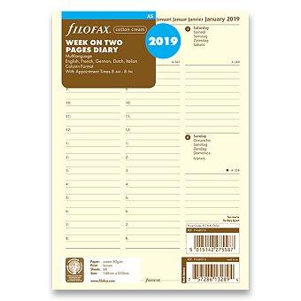 Obrázek produktu Týdenní kalendář 2019, 5 jazyků - náplň A5 diářů Filofax