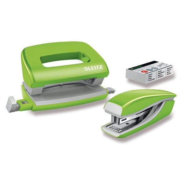 Mini set sešívačky a děrovačky Leitz Wow zelený