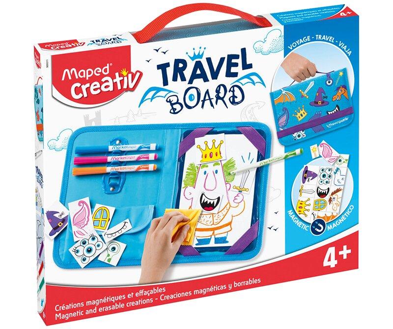Výtvarný kufřík s princeznami a rytíři vhodný pro cestování