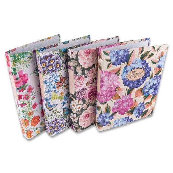 4kroužkový pořadač Pigna Nature Flowers A4, 35 mm, mix motivů
