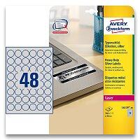 Stříbrné kulaté etikety PET Avery Zweckform
