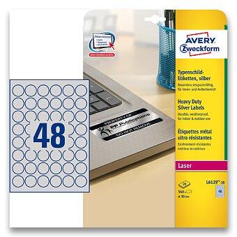 Obrázek produktu Stříbrné kulaté etikety PET Avery Zweckform - průměr 30 mm, 960 ks,