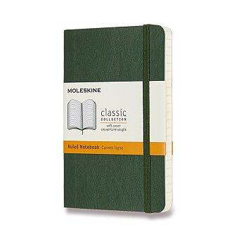 Obrázek produktu Zápisník Moleskine - měkké desky - S, linkovaný, tmavě zelený