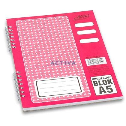 Obrázok produktu Bobo blok - krúžkový blok - A5, 50 l., linajkový