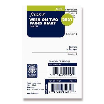 Obrázek produktu Týdenní kalendář 2021, Aj - týden na 2 strany, náplň mini diářů Filofax
