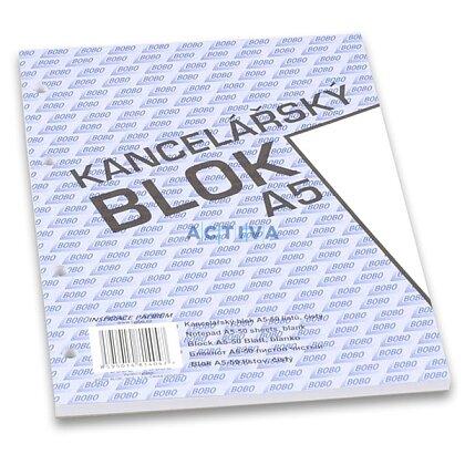 Obrázok produktu Bobo - lepený blok, dierovaný - A5, 50 l., čistý