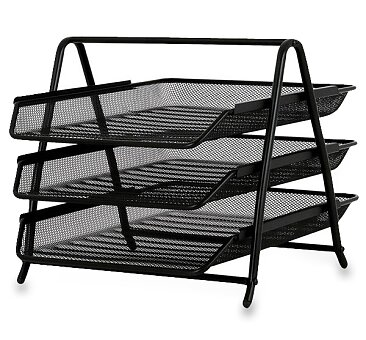 Obrázek produktu Trojbox na katalogy drátěný - černý