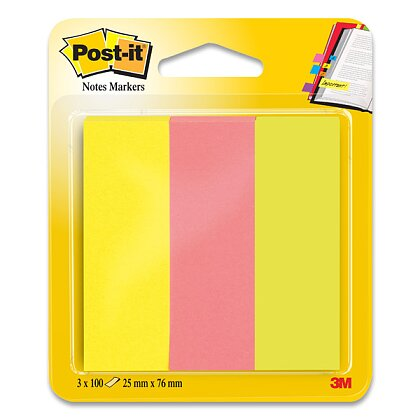 Obrázek produktu 3M Post-it 671/3 - papírové značkovací proužky - 25×76 mm, 3x100 l.