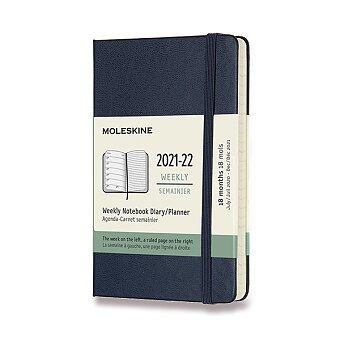 Obrázek produktu 18měsíční diář Moleskine 2021-22 - tvrdé desky - S, týdenní, modrý