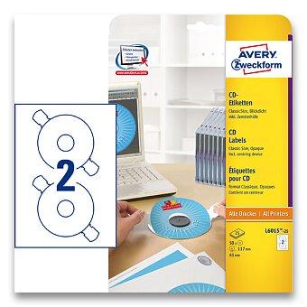 Obrázek produktu Etikety na CD/DVD Avery Zweckform - bílé, 50 ks, průměr 117 mm