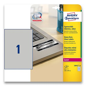 Obrázek produktu Stříbrné samolepicí PET etikety Avery Zweckform - 210 x 297 mm, 20 etiket