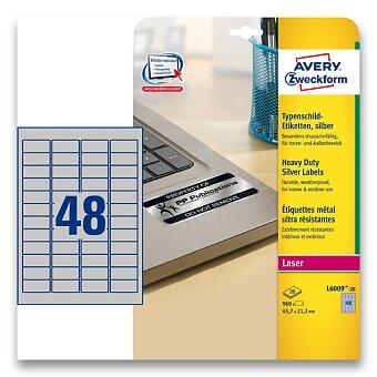 Obrázek produktu Stříbrné Samolepicí PET etikety Avery Zweckform - 45,7 x 21,2 mm, 960 etiket