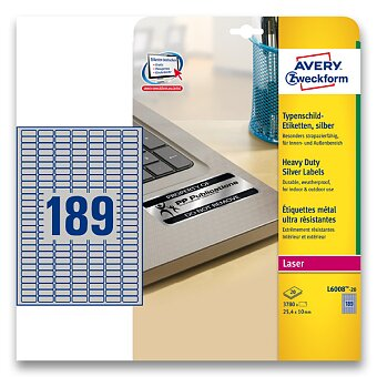 Obrázek produktu Stříbrné samolepicí PET etikety Avery Zweckform - 25,4 x 10,0 mm, 3780 etiket