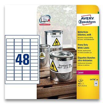 Obrázek produktu Bílé samolepicí PET etikety Avery Zweckform - 45,7 x 21,2 mm, 960 etiket