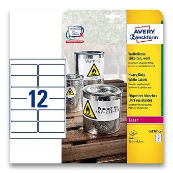 Obrázek produktu Bílé samolepicí PET etikety Avery Zweckform - 99,1 x 42,3 mm, 240 etiket
