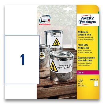 Obrázek produktu Bílé samolepicí PET etikety Avery Zweckform - 210 x 297 mm, 20 etiket