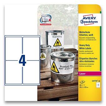 Obrázek produktu Bílé samolepicí PET etikety Avery Zweckform - 99,1 x 139,0 mm, 80 etiket