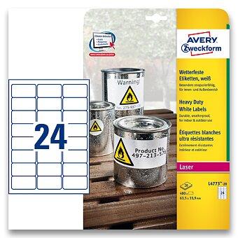 Obrázek produktu Bílé samolepicí PET etikety Avery Zweckform - 63,5 x 33,9 mm, 480 etiket