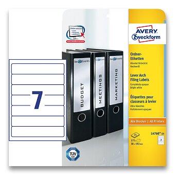 Obrázek produktu Bílé samolepící štítky na pořadače Avery Zweckform - 192 x 38 mm, 175 etiket