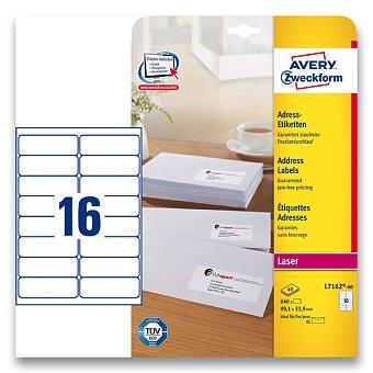 Obrázek produktu Bílé adresní etikety Avery Zweckform pro laserový tisk - 99,1 x 33,9 mm, 640 etiket, laser