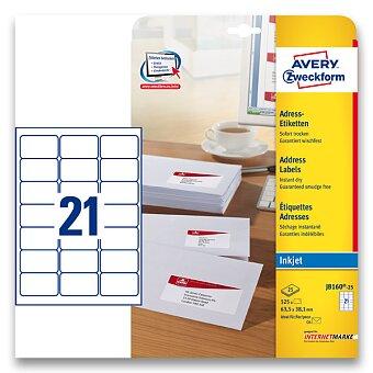 Obrázek produktu Bílé adresní etikety Avery Zweckform pro inkoustový tisk - 63,5 x 38,0 mm, 525 etiket, inkjet