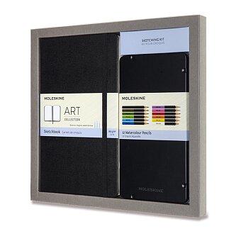 Obrázek produktu Skicář Moleskine - tvrdé desky - L, dárková sada s akvarelovými pastelkami, černý