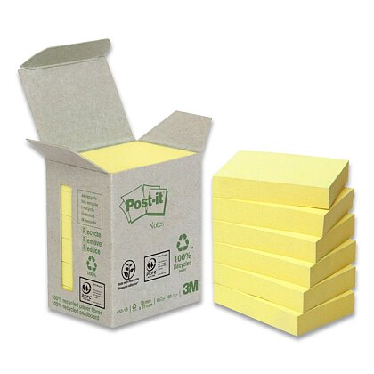 Obrázek produktu 3M Post-it 653 - samolepicí recyklované bločky - 38x51 mm, 6×100 l.
