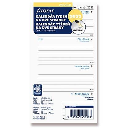 Obrázek produktu Filofax - náplň osobní - týdenní kalendář 2022