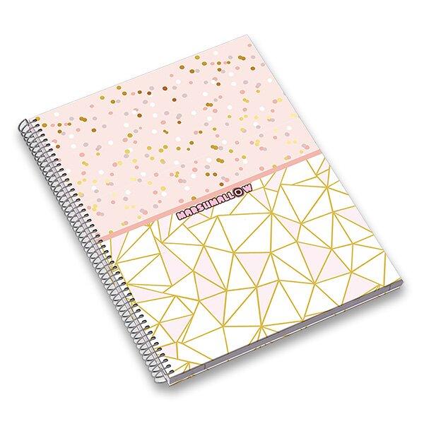 Kroužkový blok Ambar Marshmallow A4, linkovaný, 120 listů, mix motivů
