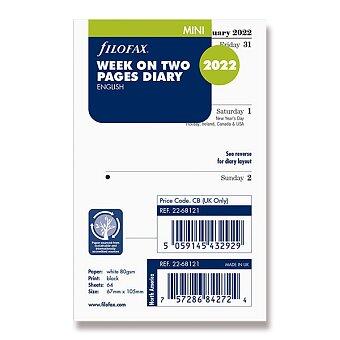 Obrázek produktu Týdenní kalendář 2022, Aj - týden na 2 strany, náplň mini diářů Filofax
