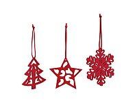 Sada 3 vánočních plstěných dekorací