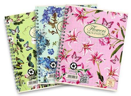 Obrázek produktu Kroužkový blok Pigna Nature Flowers - mix motivů - A4, čtverečkovaný, 60 listů