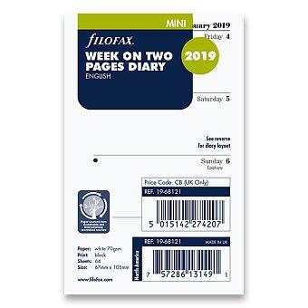 Obrázek produktu Týdenní kalendář 2019, Aj - náplň mini diářů Filofax