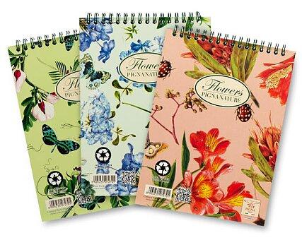Obrázek produktu Kroužkový blok Pigna Nature Flowers - mix motivů - A6, čtverečkovaný, 60 listů