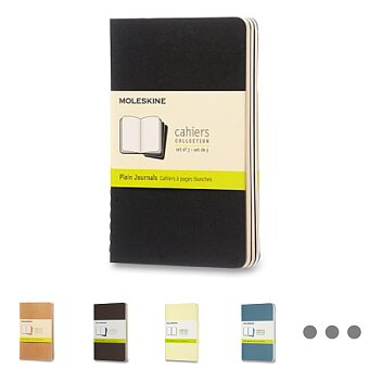 Obrázek produktu Sešity Moleskine Cahier - tvrdé desky - S, čisté, 3 ks, výběr barev