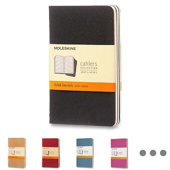 Obrázek produktu Sešity Moleskine Cahier - tvrdé desky - S, linkovaný, 3 ks, výběr barev