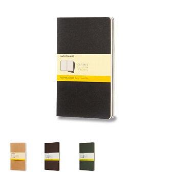 Obrázek produktu Sešity Moleskine Cahier - tvrdé desky - L, čtverečkovaný, 3 ks, výběr barev