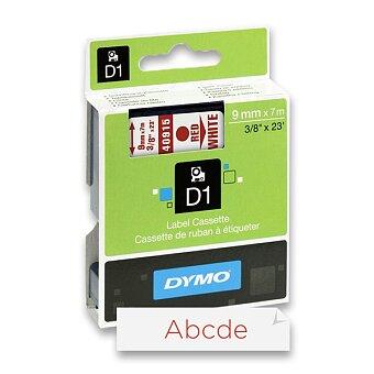 Obrázek produktu Polyesterová páska Dymo D1 - 9 mm x 7 m, červený tisk / bílá páska