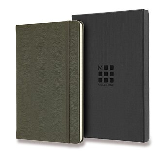 Obrázek produktu Zápisník Moleskine kožený - L, linkovaný, khaki