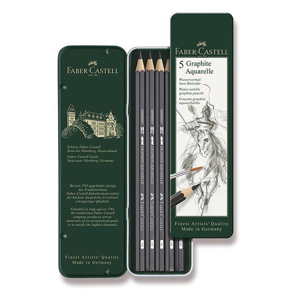Akvarelová grafitová tužka Faber-Castell Graphite Aquarelle 5 ks, plechová krabička