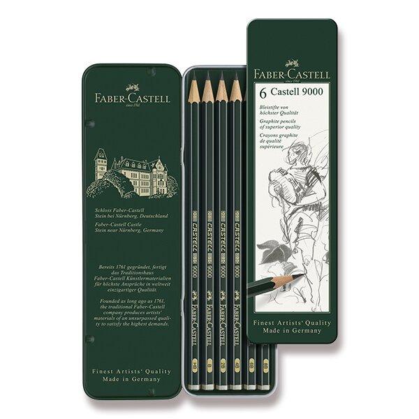 Grafitová tužka Faber-Castell Castell 9000 6 ks, plechová krabička