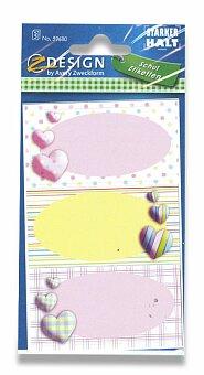 Obrázek produktu Samolepicí štítky na sešity - Srdíčka