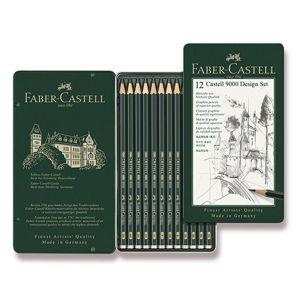 Grafitová tužka Faber-Castell Castell 9000 Design set 12 ks, plechová krabička
