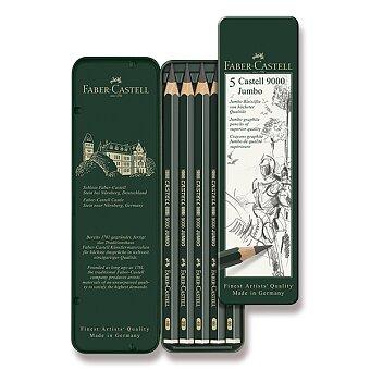 Obrázek produktu Grafitová tužka Faber-Castell Castell 9000 Jumbo - 5 ks, plechová krabička
