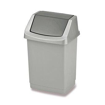 Obrázek produktu Plastový odpadkový koš s víkem Curver Click it - stříbrný, objem 15 l